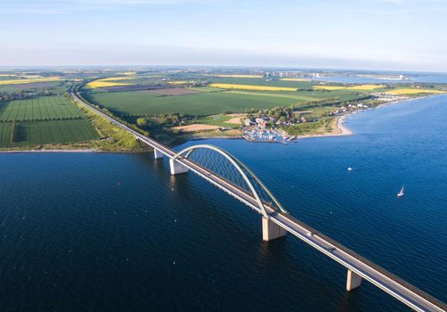 Bird's eye view of Fehmarn and the Fehmarn Sound Bridge